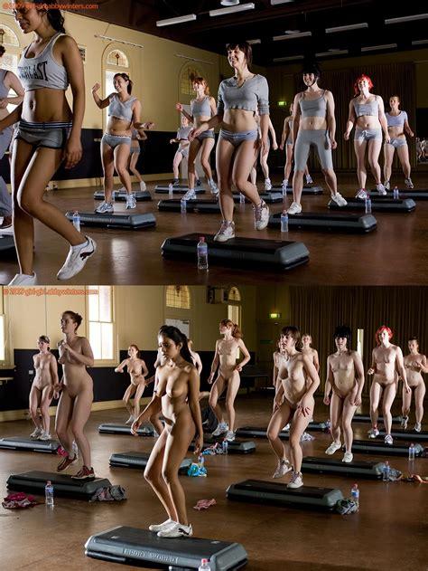 Step Aerobics Girls Mic Group Of Nude Girls Sorted Luscious