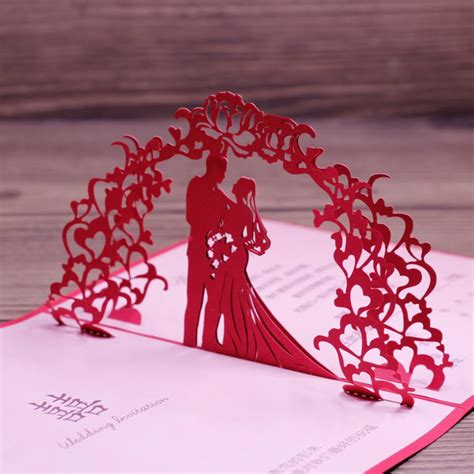 3D Wedding Anniversary Card Laser Cut Red Art Paper
