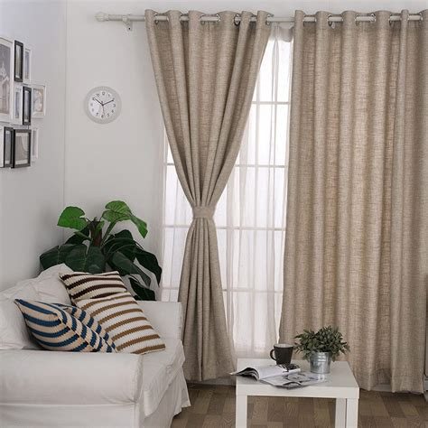 Blended Materials Khaki Color Country Style Curtains
