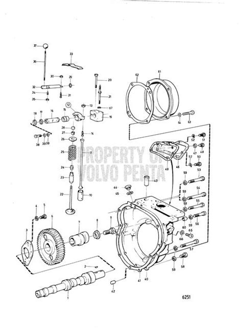 volvo penta exploded view schematic camshaft  valve