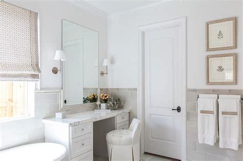 white  gray bathroom  gray  tiled walls