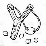 Slingshot Simple Fionda Sling Semplice Nero Bianco Katapult Arm Aggression Clipart Ancient Svartvit Enkel Blanche Fronde Noire Bonhomme Noir Illustrazione sketch template