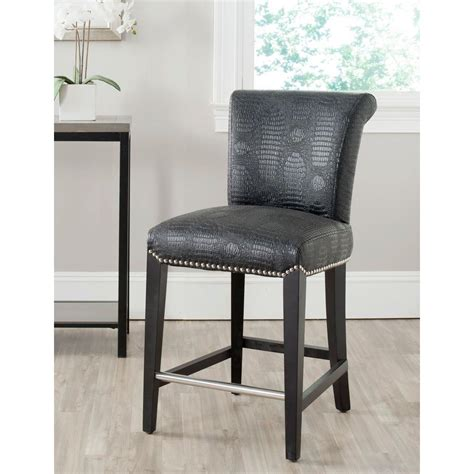 safavieh stool safavieh seth 25 9 in black croc cushioned bar stool