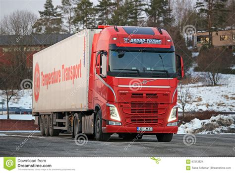 red volvo truck red volvo fh semi at truck stop editorial stock image