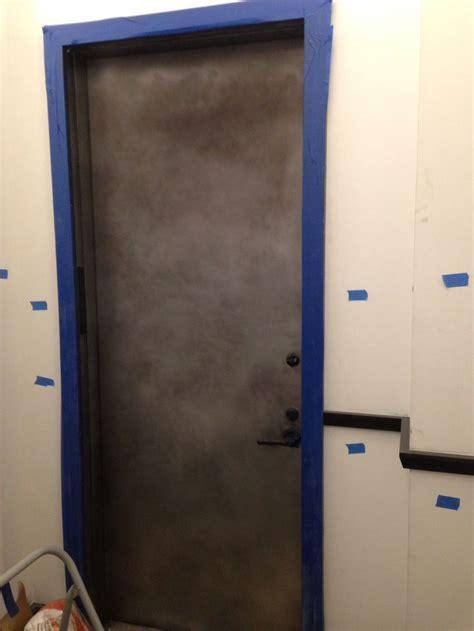 reception desk rubbed blackened steel security door refinished