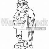 Injured Cartoon Boy Clipart Sling Outlined Crutch Vector Royalty Djart Cox Dennis Wackystock sketch template