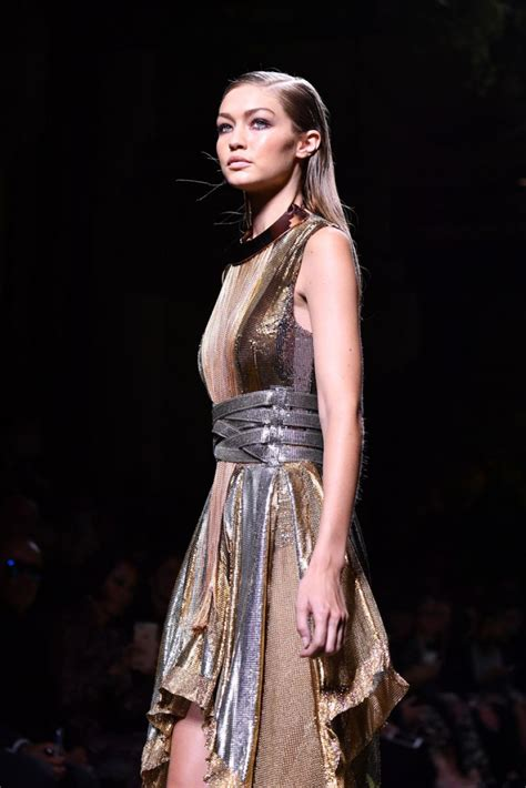 GIGI HADID at Balmain Fashion Show at Paris Fashion Week ...