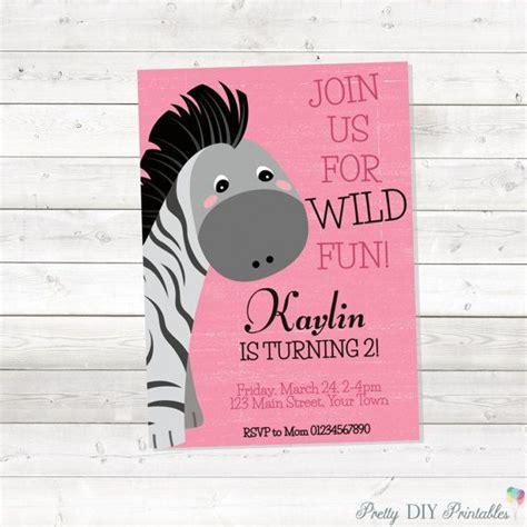 girl zebra birthday invitation safari birthday invitation