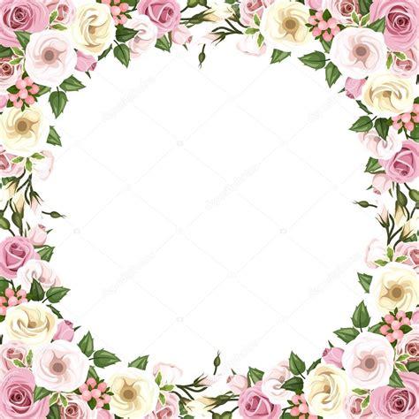 cornici con fiori cornice con fiori rosa e lisianthus illustrazione