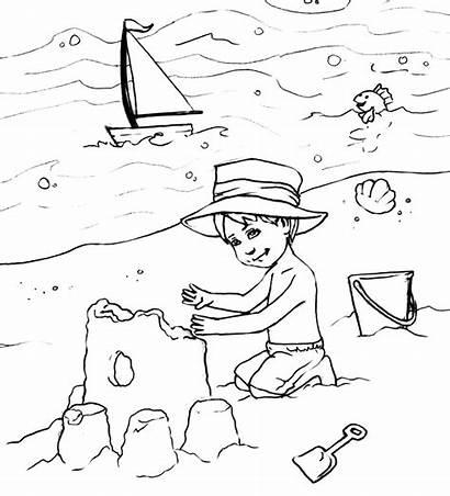 Mewarnai Coloring Pantai Untuk Printable Anak Tk
