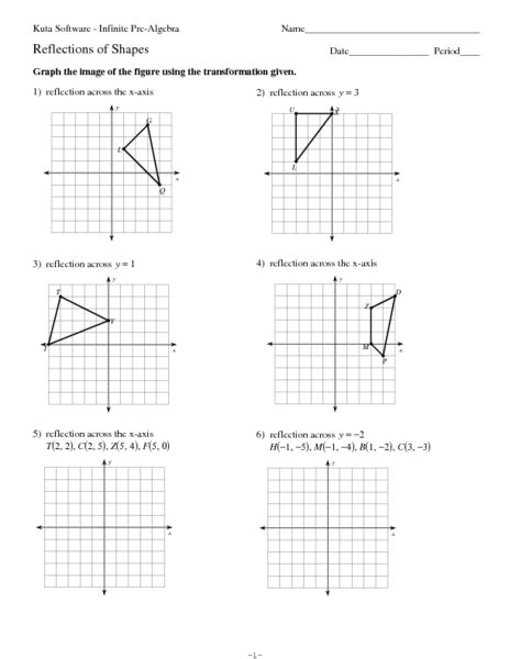 coordinate geometry reflection worksheets math plane