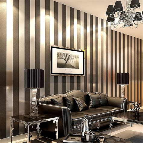 Striped Wallpaper Living Room Ideas by Wallpaper Modern Papel De Parede Roll 3d Paper Black And