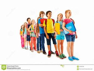 Many Kids Standing In Line With Books Stock Photo - Image ...