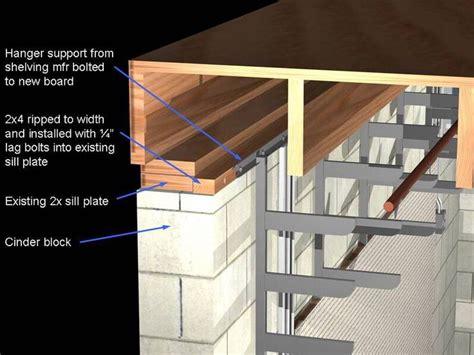 attach shelving  cinder block walls concrete walls diy block wall