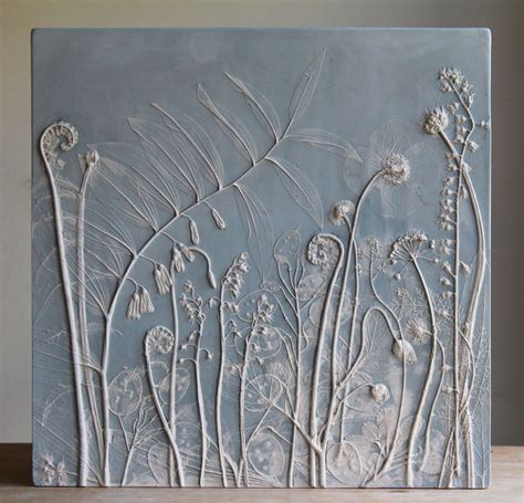 Minimalist Flower Handmade Casing fossils from everyday plaster cast plant tiles by