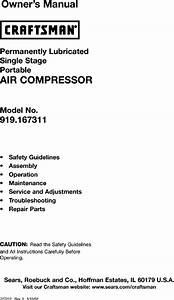 Craftsman 919167311 User Manual Air Compressor Manuals And