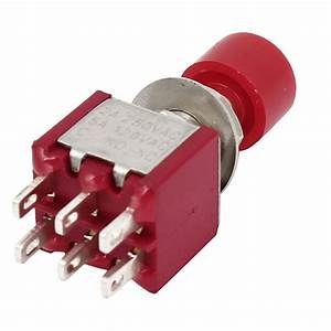 Red 6 Pin Dpdt On  On Momentary Push Button Switch Ac 125v