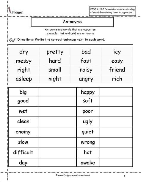 antonyms worksheet reading spelling writing 1st grade