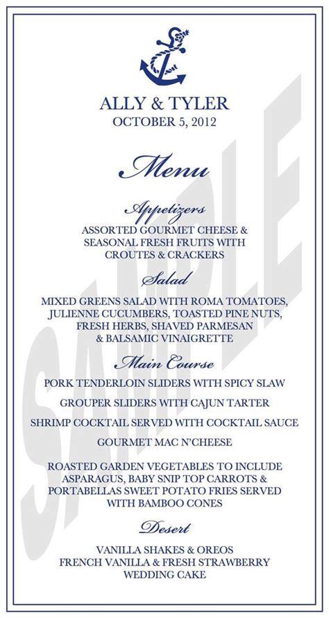 nautical theme wedding reception dinner menu dinner menu