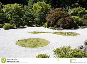 Japanese Garden Zen Rock Sand Stock Image Image