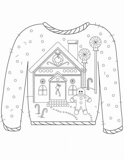 Sweater Ugly Christmas Gingerbread Coloring Pages Colouring