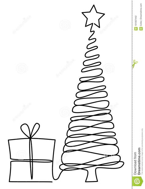Christmas Tree One Line Drawing Stock Vector ...