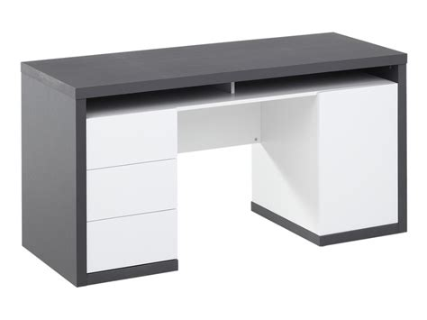 bureau gris blanc bureau igor iii 3 tiroirs 1 porte 1 niche blanc gris