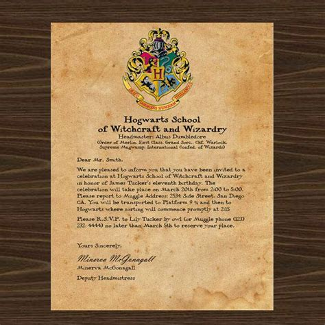 harry potter party invitation     invite