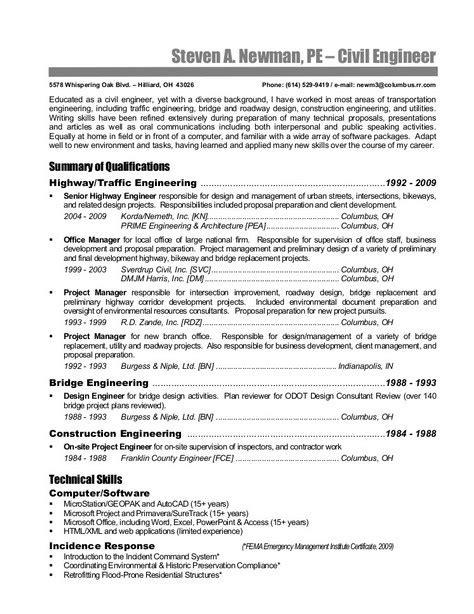 senior civil engineer resume resume cover letter template