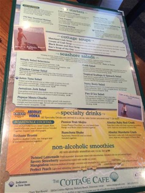 Cottage Restaurant Menu by Cottage Cafe Menu Page 2 Picture Of The Cottage Cafe