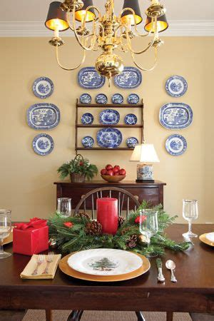 love  blue  white plates   yellow wall