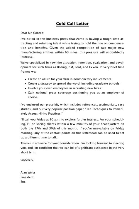 cold call resume sle cold contact cover letter tips