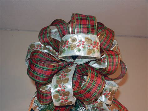 large christmas tree topper bow with white ribbon with