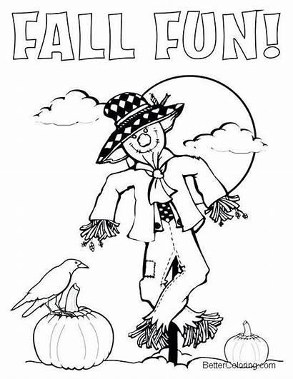 Coloring September Pages Fall Fun Pumpkins Printable