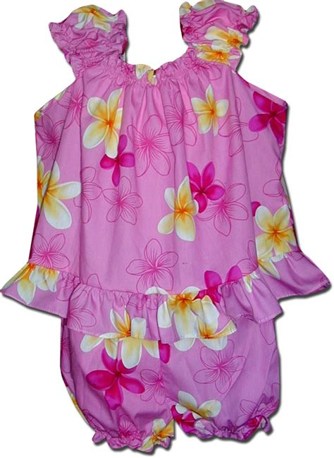 Baby Pink Hawaiian Outfit White Plumeria