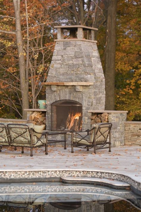 Freestanding Outdoor Fireplace With Patio Furniture Glass