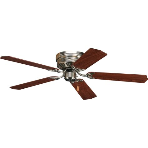 hugger ceiling fan no light shop progress lighting airpro hugger 52 in brushed nickel