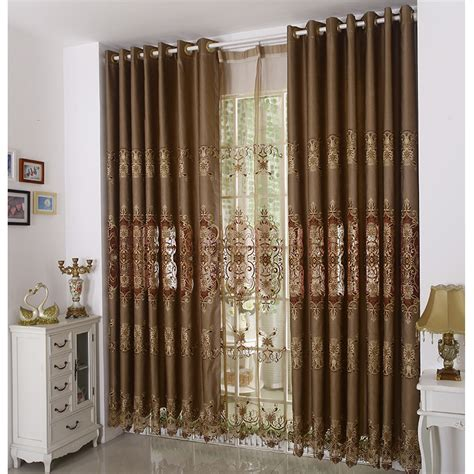 vintage brown color jacquard elegant curtains