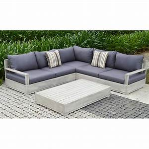 Beranda 3 piece eucalyptus wood outdoor sectional set with for Sectional sofas for outdoor