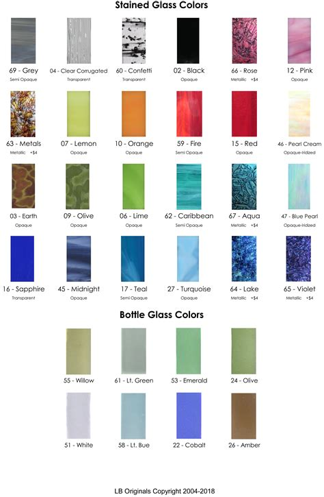 color glass glass color chart
