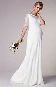 evie lace maternity wedding gown long ivory maternity With wedding maternity dresses