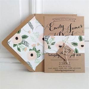 Kraft wedding invitation suite kraft lined envelopes for Wedding invitations with lined envelopes