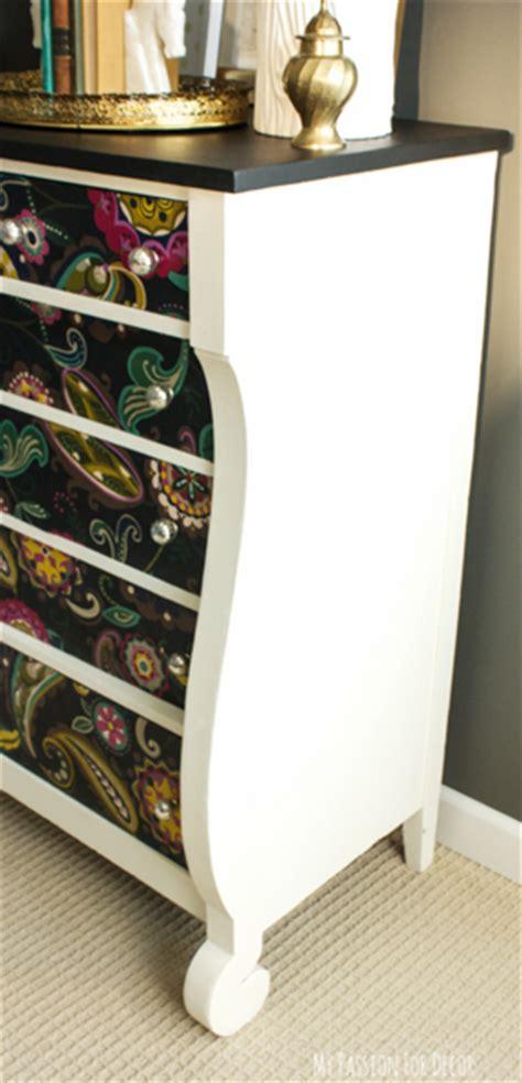 hometalk dresser makeover  fabric  mod podge