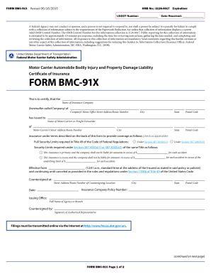 form bmc 91 or bmc 91x fillable reginfo fmcsa form bmc 91x motor carrier