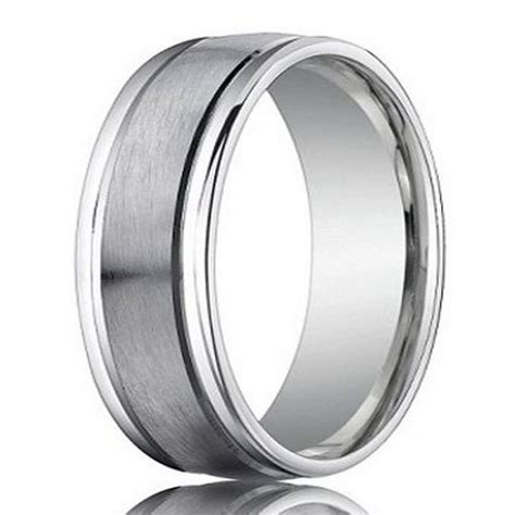 platinum designer mens wedding band polished