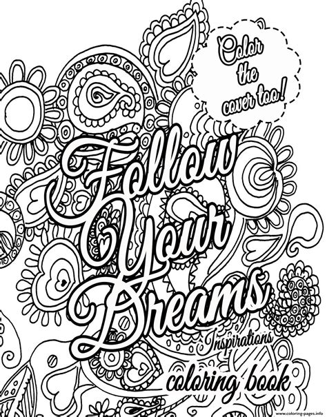 quote  dream  adults coloring pages printable