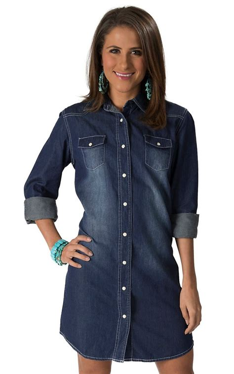 Wired Heart Womenu0026#39;s Denim Long Sleeve Shirt Dress   Womenu0026#39;s Skirts and Dresses   Pinterest ...