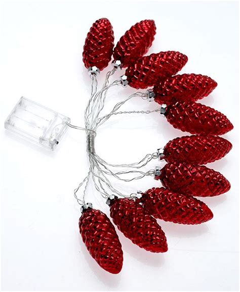 10 led light mercury glass pine cone battery operated