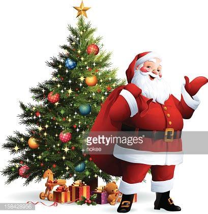 santa claus christmas tree vector art getty images