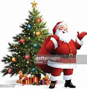Santa Claus Christmas Tree Vector Art